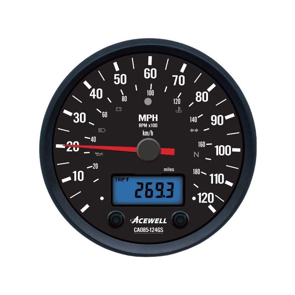 Acewell Ca85 Black Dial Multifunction Gauge  Speed  Rpm