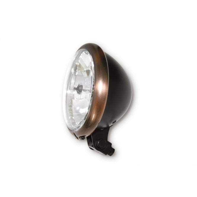 "Bates 5 3/4"" Headlight Black With Copper Rim"