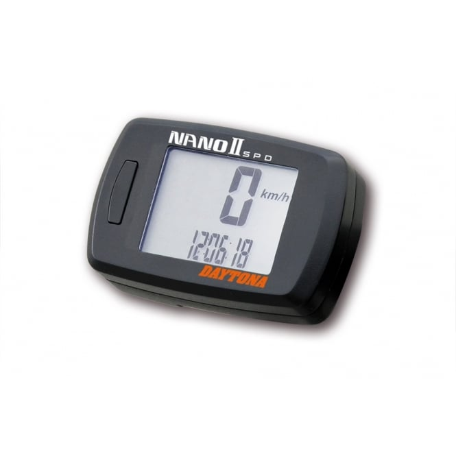 DAYTONA Nano II Speedometer, compact digital readout, complete with Handlebar bracket and speed sensor