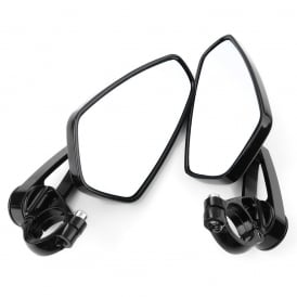 Delta Bar End Motorcycle Mirrors Black per pair