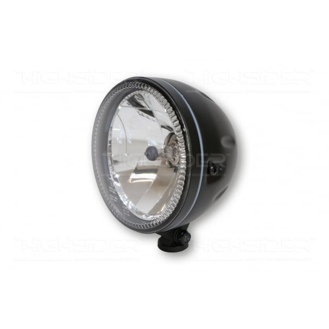 Highsider Skyline Headlight in Black, 55/60 watt halogen bulb with outer angel eye LED ring