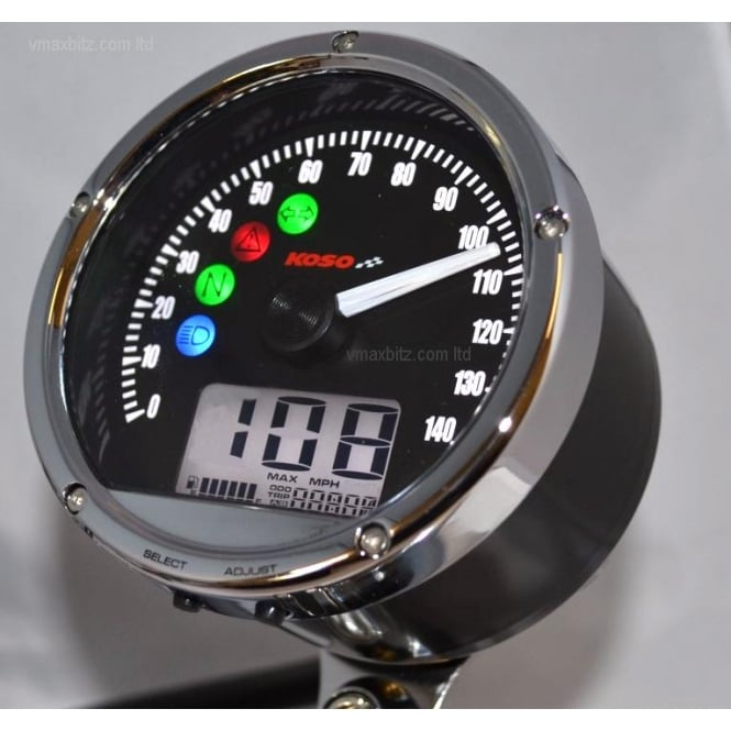 KOSO CRB01S/TNT-01S Speedometer 140 MPH/KPH - Includes a Magnetic Speed Sensor