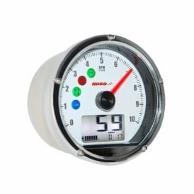 CRW Multifunction Gauge, white face, features speedometer, 10k rpm scale, warning lights.