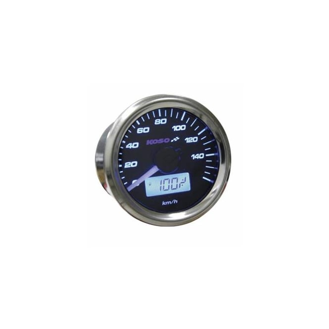 KOSO D48 Black Dial Speedometer - Includes a Magnetic Speed Sensor
