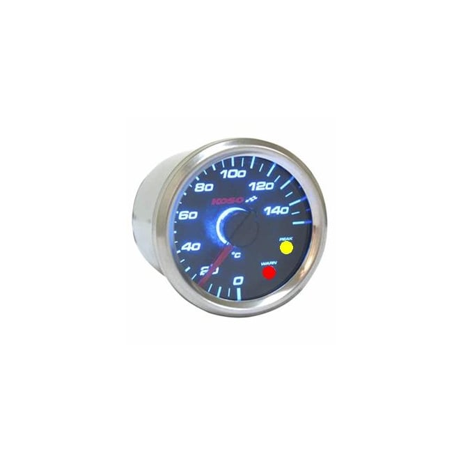 KOSO D48 Black Dial Temperature Gauge With Warning Light - Supplied With Temperature Sender