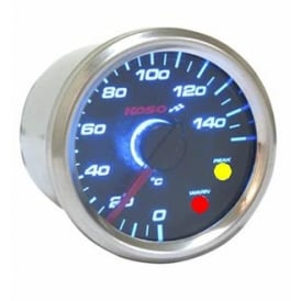 D48 Black Dial Temperature Gauge With Warning Light - Supplied With Temperature Sender