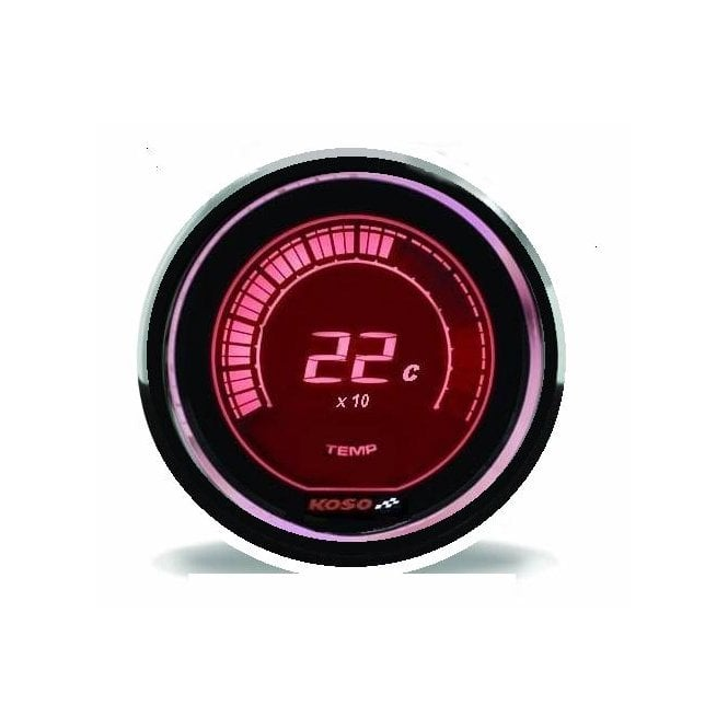 KOSO D48 Red Temperature Gauge - Supplied With Temperature Sender