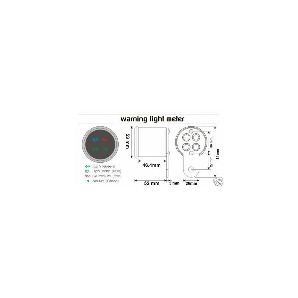 Koso D48 Warning Light Unit Indicator Wiring Diagram High Beam Indicators Oil Pressure And Neutral