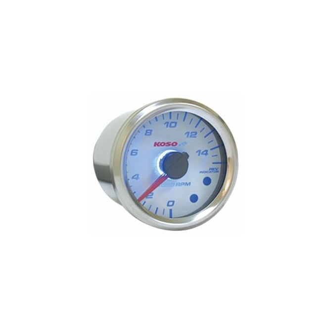 KOSO D48 White 15K Tachometer With Shift light