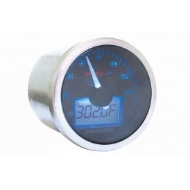 D55 Black Dial 16K Tachometer Eclipse Style - Temperature Gauge and Sender