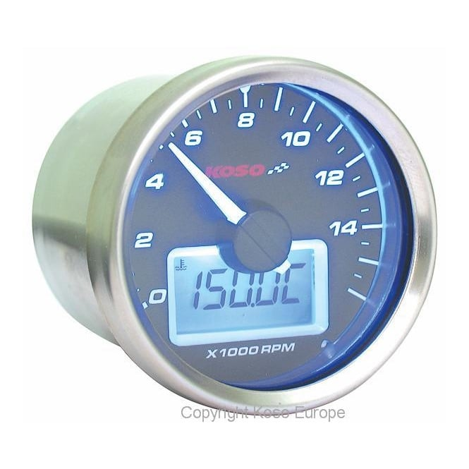 KOSO D55 Black Dial 16K Tachometer, RPM with temperature gauge, sender included