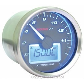D55 Black Dial 16K Tachometer, RPM with temperature gauge, sender included