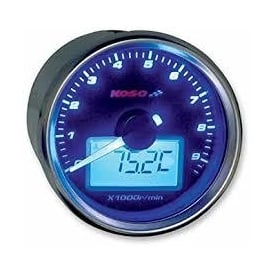 D55 Black Dial 9K Tachometer, RPM with temperature gauge, sender and mounting bracket included