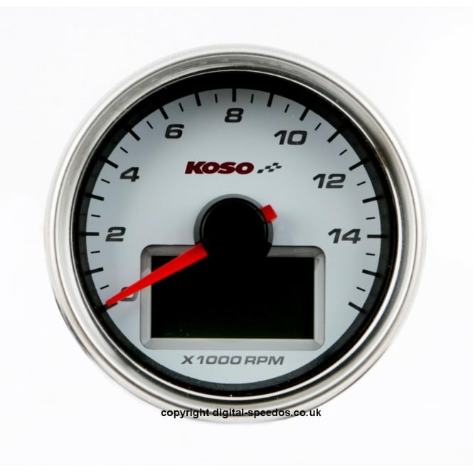 KOSO D55 White Dial 16K Tachometer, RPM with Temperature gauge supplied with sender