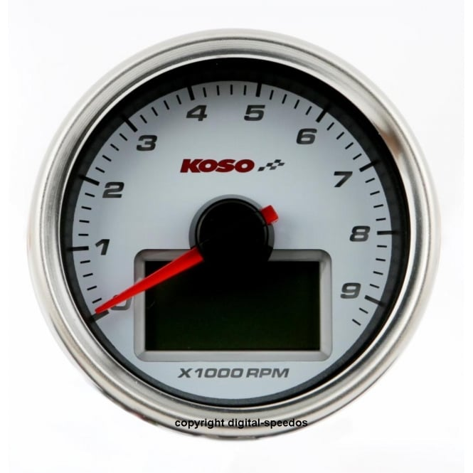 KOSO D55 White Dial 9K Tachometer, RPM with temperature gauge, sender included