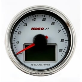 D55 White Dial 9K Tachometer, RPM with temperature gauge, sender included