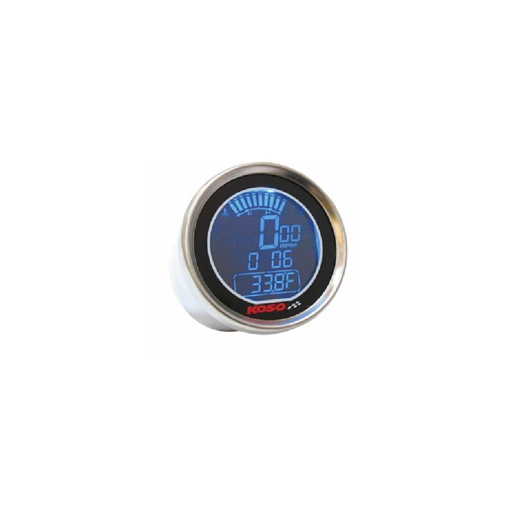 KOSO DL-01R Tachometer - Two Temperature Gauges, Time Clock