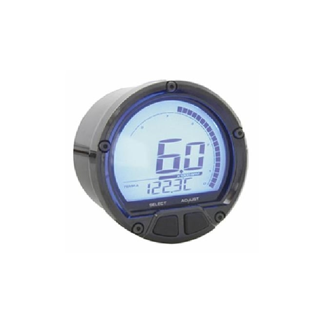 KOSO DL-02R Tachometer Black - Two Temperature Gauges, Time Clock