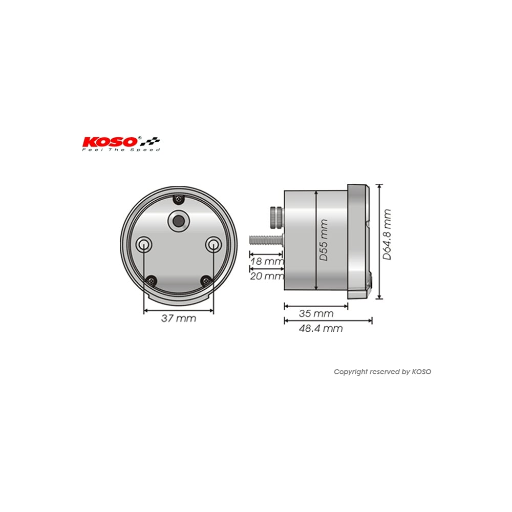 Koso Dl 02s Speedometer Chrome P25 Wiring Diagram Includes A Magnetic Speed Sensor