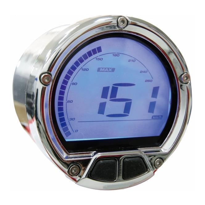 KOSO DL-02S Speedometer Chrome - Includes a Magnetic Speed Sensor