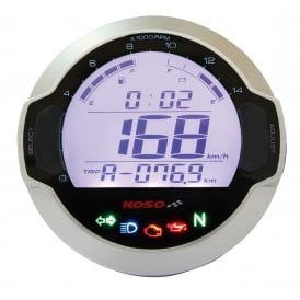 DL-03SR Silver Multifunction Gauge - Speed, RPM, Warning lights, Fuel, Volt, includes Speed sensor
