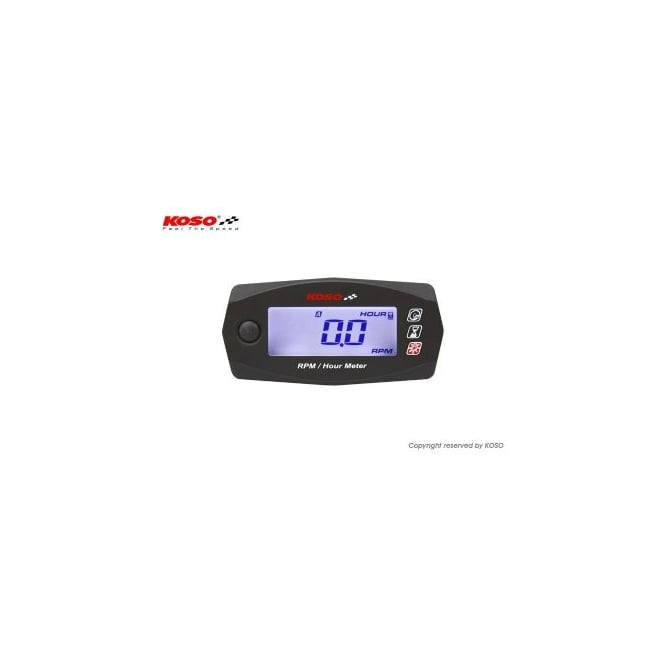 KOSO Mini 4 RPM & Engine Hour Gauge, 12 volt dc or battery operated, 0 - 15k rpm range, hour meter