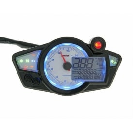 RX-1N+ White/Blue Multifunction Gauge - Includes a Magnetic Speed Sensor