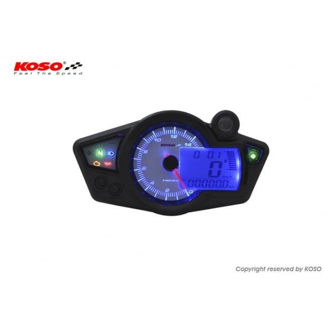 KOSO RX-1N+ White/Blue Multifunction Gauge - Includes a Magnetic Speed Sensor
