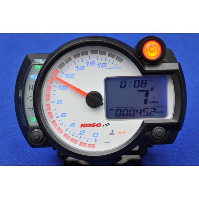 KOSO RX-2N+ 20K White Multifunction Gauge - Includes an Active Speed Sensor