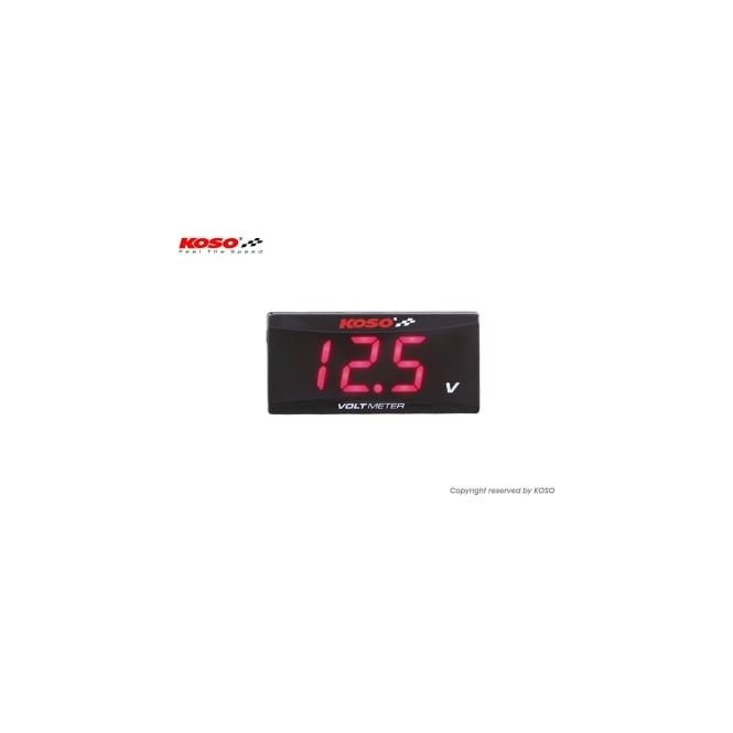 KOSO Super Slim Style Red Volt Meter