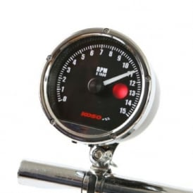 TNT 15K 80mm Tachometer - 12V Or 9V Battery, Single Or Multi Cylinder, Shift Light