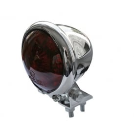 Bates Style Tail Light Chrome With Red Lens