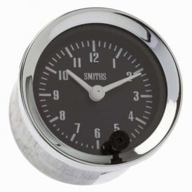 Black 52mm Time Clock Chrome Bezel