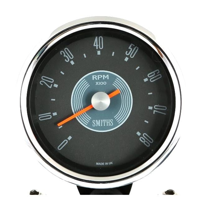 Smiths Grey Dial Tachometer, 8k and 10k variants available, waterproof case positive or negative earth