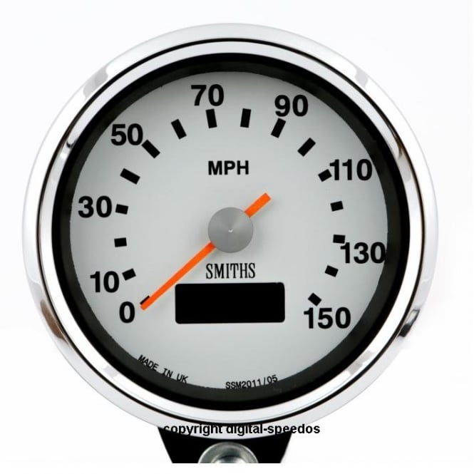 Smiths White Dial 150 MPH Speedometer